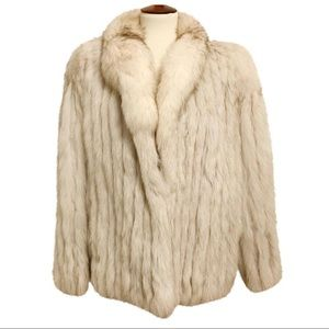 AMAZING Saga Fox Real Cream Gray Fox Fur Coat